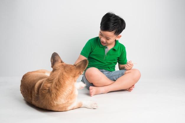家で犬と遊ぶかわいい男の子