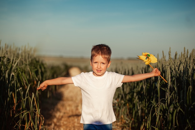 Cute little boy running and holdingwindmill in hand in summer day.