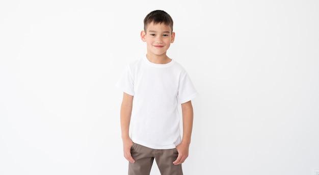 Cute little boy wearing blank t-shirt