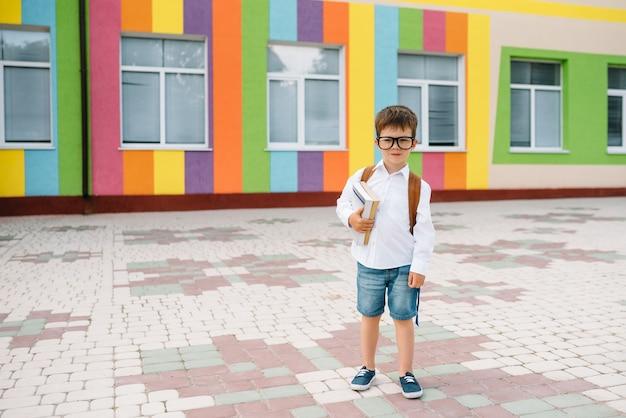 Милый маленький мальчик с рюкзаком и книгами