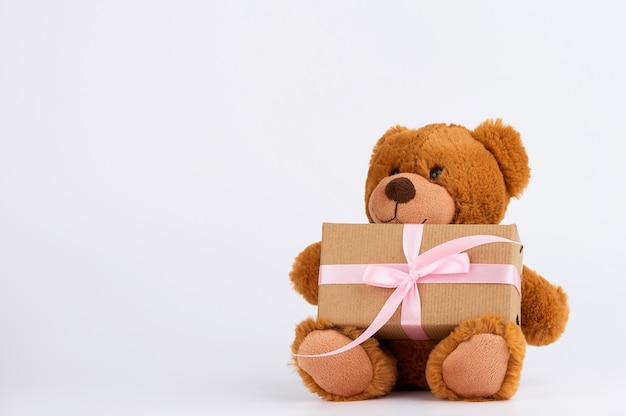 Cute little brown teddy bear holds a brown box with a pink ribbon on white