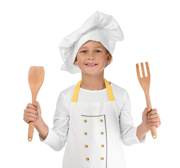 Cute little chef on white