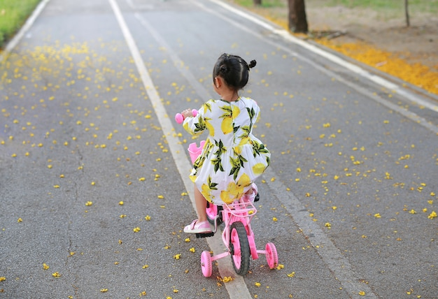 Cute little child girl riding bike in park. rear view.