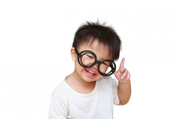Cute little child with glass smile