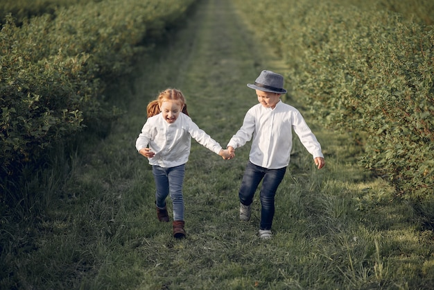 Cute little children in a spring field