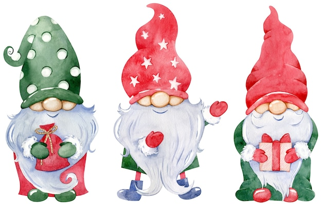 Cute little christmas gnome collection. watercolor set of new year's gnomes with gifts in colorful green and red long hats isolated on the white background.