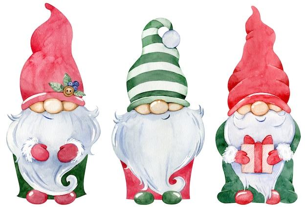 귀여운 작은 크리스마스 그놈 컬렉션. 흰색 배경에 고립 된 화려한 녹색과 빨간색 긴 모자에 선물 새 해의 격언의 수채화 세트.