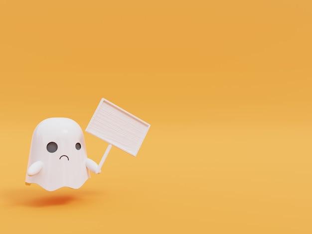 Cute little flying ghost in halloween.