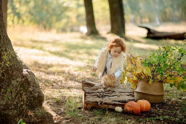 Милая маленькая девочка 3 года играет с кроликом в осеннем лесу