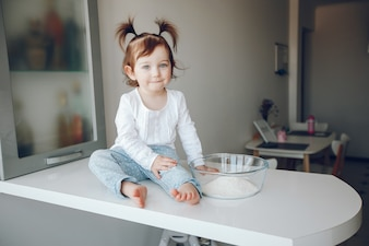 Cute little girl at home