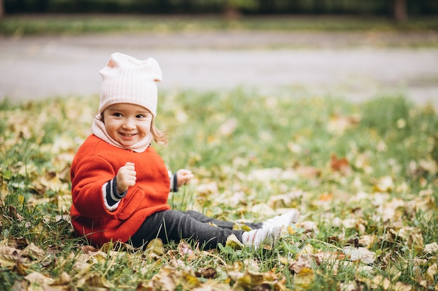 Cute little girl in an autumn park