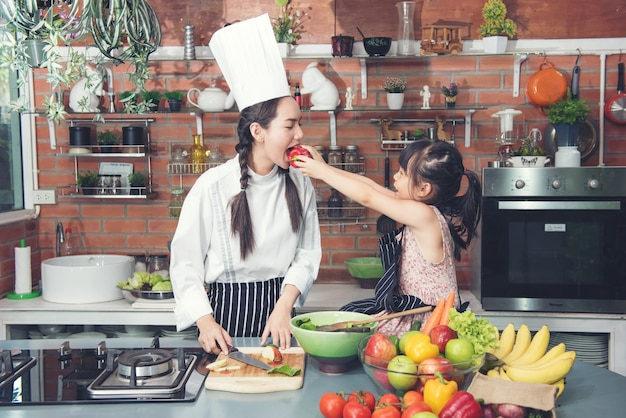 Cute little girl and beautyful woman chef in kitchan room