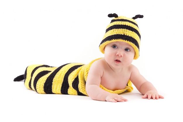 Cute little girl in bee costume