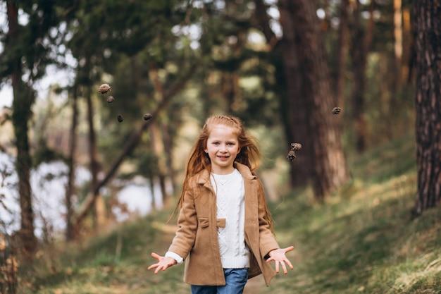 森で円錐形を収集かわいい女の子