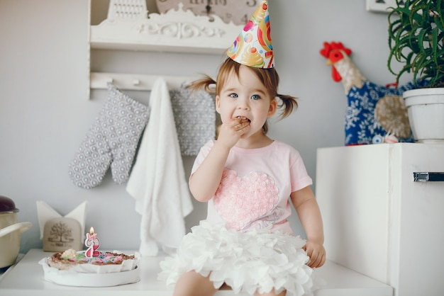 Cute little girl have fun at home