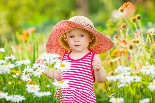 夏のドレスと帽子でかわいい女の子がヒナギクの間で庭を歩く