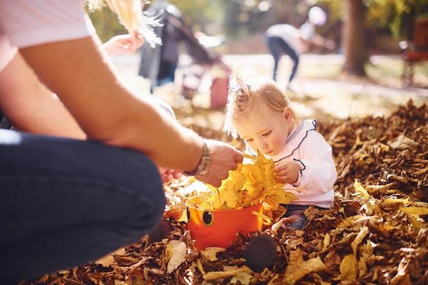 秋の公園で両親と一緒に葉っぱで遊んでいるかわいい女の子。