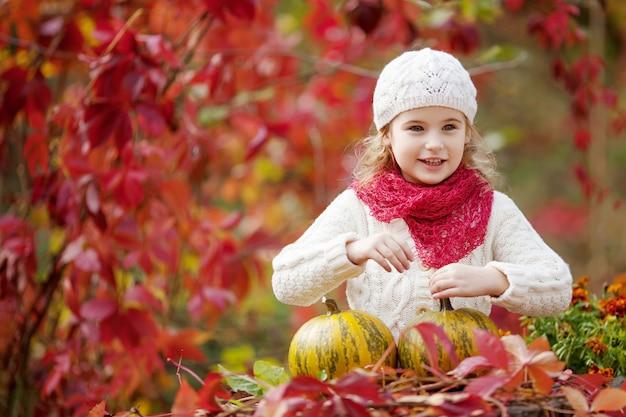 가 공원에서 호박을가지고 노는 귀여운 소녀. 어린이를 위한 가을 활동. 가족을 위한 할로윈과 추수 감사절 시간.