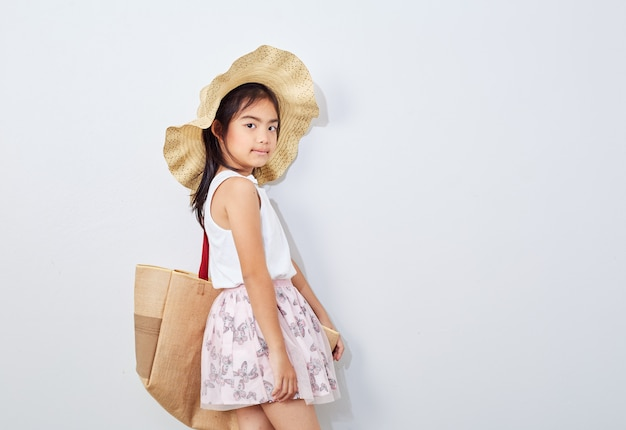 Cute little girl on shopping summer