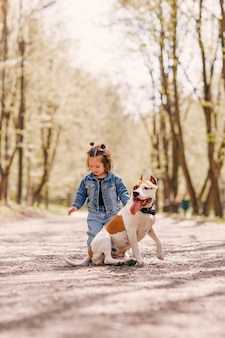 Cute little girl in a spring park