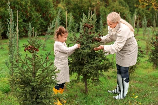 Милая маленькая девочка с бабушкой, работающей в саду