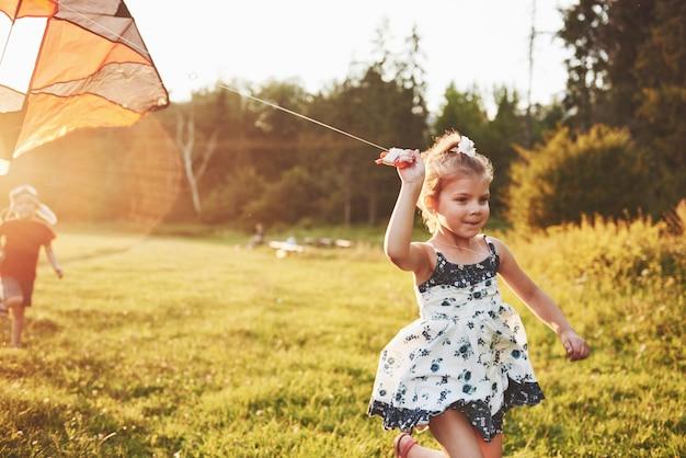 여름 화창한 날 필드에서 연을 실행하는 긴 머리를 가진 귀여운 소녀