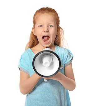 Cute little girl with megaphone on white