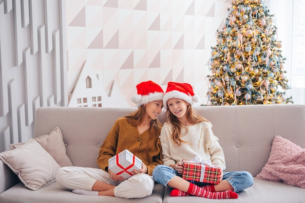 Cute little girls on christmas holiday