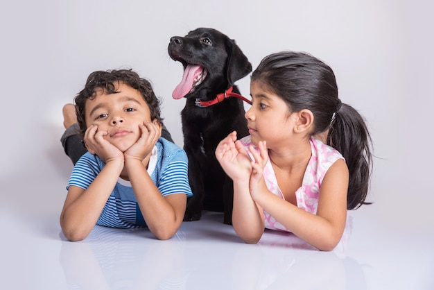 Cute little indian or asian boy and girl playing with black labrador retriever puppy while lying or sitting isolated on white background