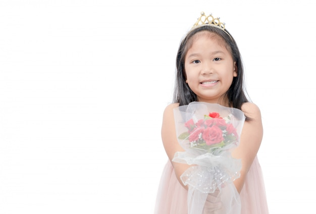 Cute little princess give flower bouquet isolated