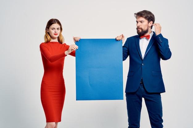 Cute man and woman autumn mockup poster advertising presentation studio i