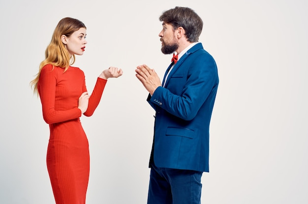 Cute man and woman communication together friendship