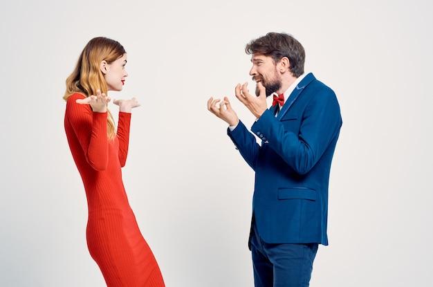 Cute man and woman studio communication lifestyle romance. high quality photo