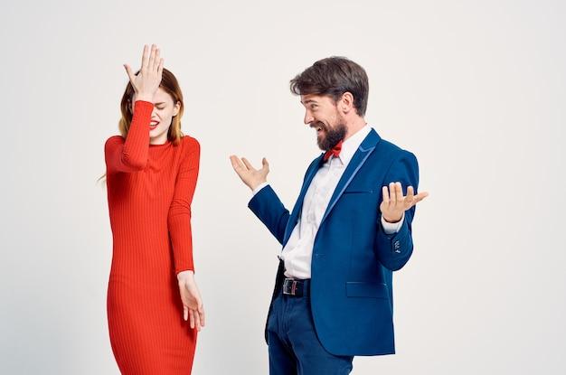 Cute man and woman studio communication lifestyle romance
