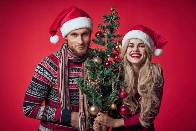 新年の服の休日のクリスマススタジオでかわいい夫婦