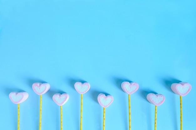 Cute marshmallow background, heart marshmallow background