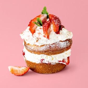 Cute mini strawberry shortcake on pink