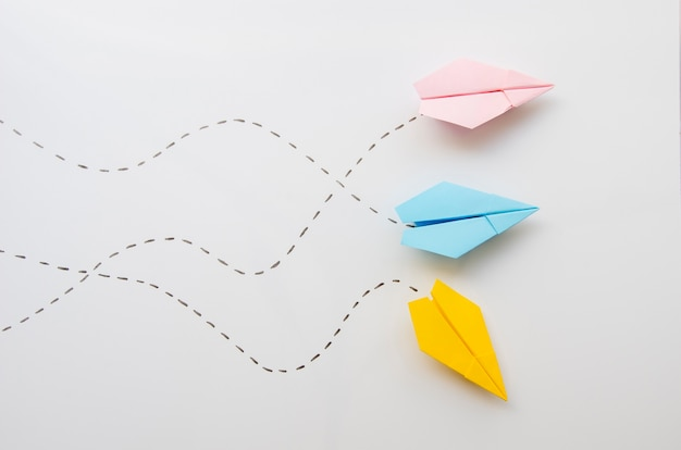 Cute minimalist  paper planes top view