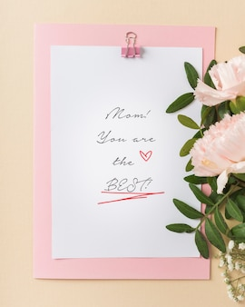 Cute mother's day card top view