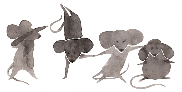 Cute mouses set on white background