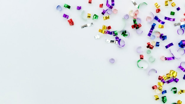 Cute new year colourful accessories on white background