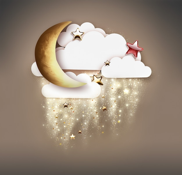 Cute night scene for kids crescent moon stars and clouds