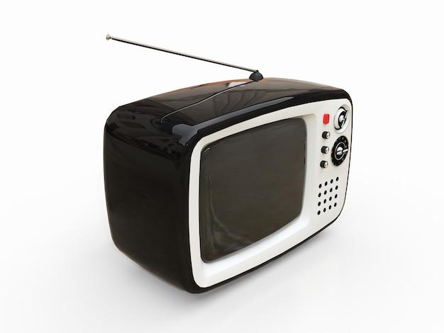 흰색 배경에 안테나와 귀여운 오래 된 검은 tv. 3d 그림.