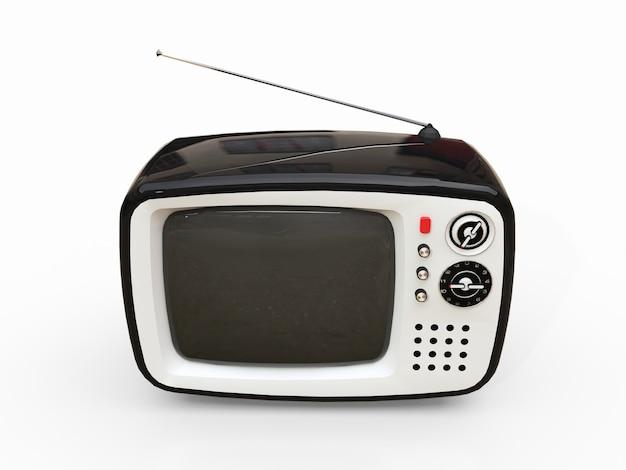 흰색 표면에 안테나와 귀여운 오래 된 검은 tv