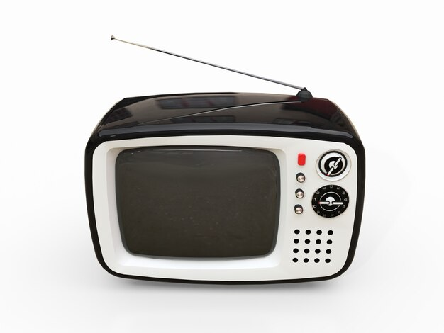 Cute old black tv with antenna on a white surface