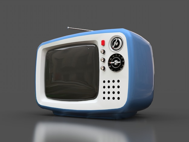 Cute old blue tv with antenna on a gray surface