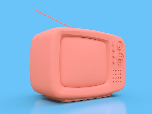 Милый старый розовый телевизор с антенной на синем фоне. 3d иллюстрации.