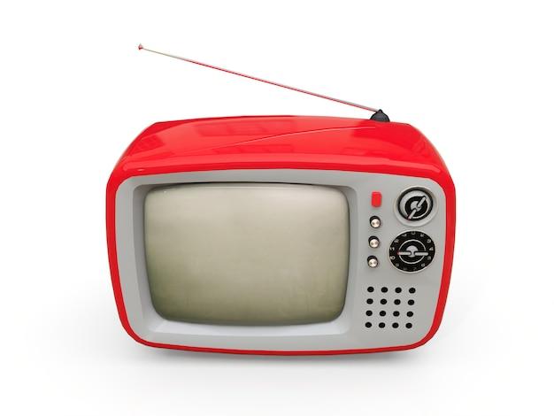 アンテナ付きのかわいい古い赤いテレビ。 3dレンダリング。
