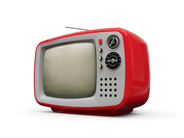 Cute old red tv with antenna on a white background. 3d illustration.