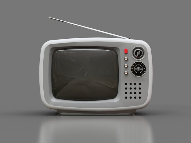 Cute old white tv with antenna on a grey background